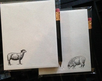 Pair of Notepads w/pencil, Sheep