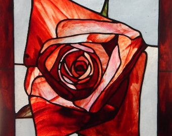 Stained Glass Rose Panel/Valentine's Day/Engagement/Wedding/Birthday Gift