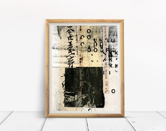 Art print, CALLIGRAPHY, collage art