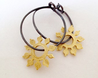 silver hoop earrings with gold sunflowers