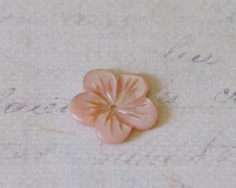 Rose carved mother of Pearl flower bead 13mm