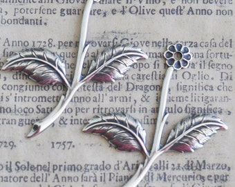 TWO daisy leaf spray brass stampings, Sterling Silver Finish, Jewelry Making and Crafting Supplies