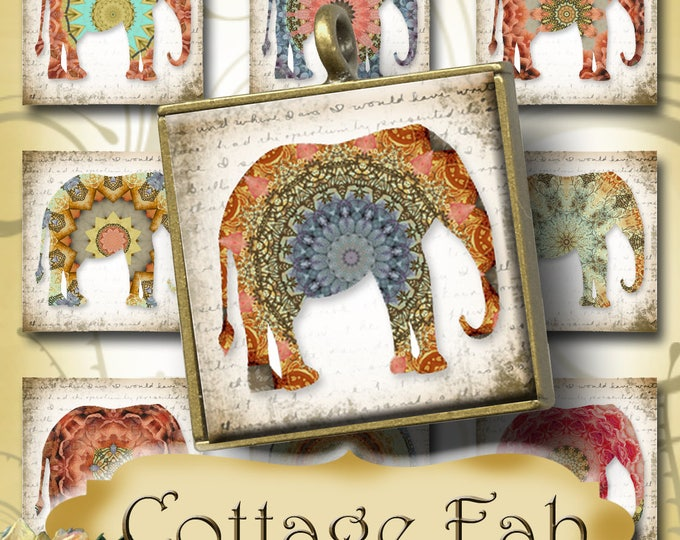 COTTAGE FAB•1x1 Elephant Images•Printable Digital Images•Cards•Gift Tags•Stickers•Magnets•Digital Collage Sheet