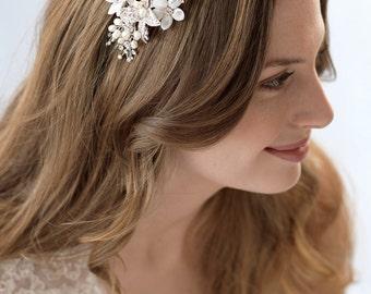 Floral Wedding Headband, Bridal Hair Accessory, Floral Bridal Headpiece, Pearl Wedding Headband, Rhinestone Wedding Headband, Bride ~TI-3212