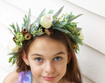 Silk Flower crown. Eucalyptus foliage with roses, gumnuts and wax flower.  Hair flowers for wedding, photoshoot, party, fancy dress.