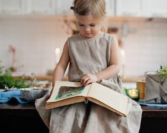 Linen Girls Dress, Sleeveless Girls Dress, Kids Fashion, Children Clothing, Dress For Girls, Princess Dress / Natural Smoke Girls NS