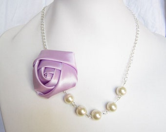 Silk Ribbon Fabric Rosette Flower Necklace,Color Violet  Necklace,Pearl Necklace,Party Bridesmaid Necklace,Love Gift