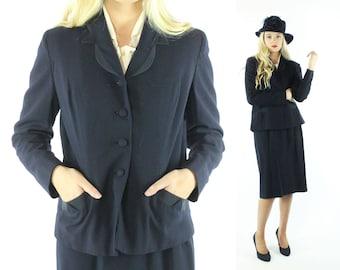 Vintage 50s Wool Suit Navy Blue Handmacher Pointed Lapel Pockets Pencil Skirt Jacket Blazer 1950s Medium M