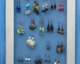 Shabby Chic JEWELRY DISPLAY RACK Holder / mocca / 40 - 50 Earrings / 28 - 35 Necklaces