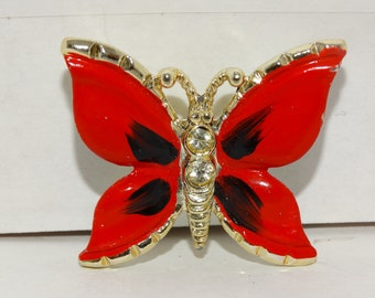 Ruby Red & Black Butterfly Brooch, Vintage Butterfly Brooch, Enamel Red, Rhinestone Butterfly Pin, Red Butterfly Pin, Mothers Day Gift