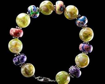 Flower Bracelet, Yellow Bracelet, Gift for Flower Girl, Gift for Daughter, Summer Bracelet, Charity Bracelet, Charity Donation
