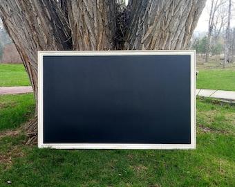 TRÈS grand tableau magnétique noir vieilli Style Vintage blanc ivoire cadre 60 x 36 po - tableau magnétique ensemble - 5 x 3 pi blanc tableau noir