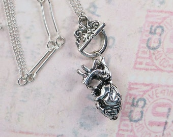 Anatomical Heart Necklace, Real Heart Pendant, Long Anatomical Heart Necklace, Anatomical Heart Jewelry, Silver Goth Necklace, Geek Jewelry