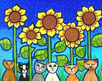Six Sunflower Cats - Print Shelagh Duffett