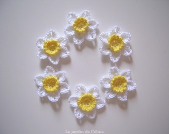 Daffodils - narcissus - set of 6 flowers crocheted in cotton