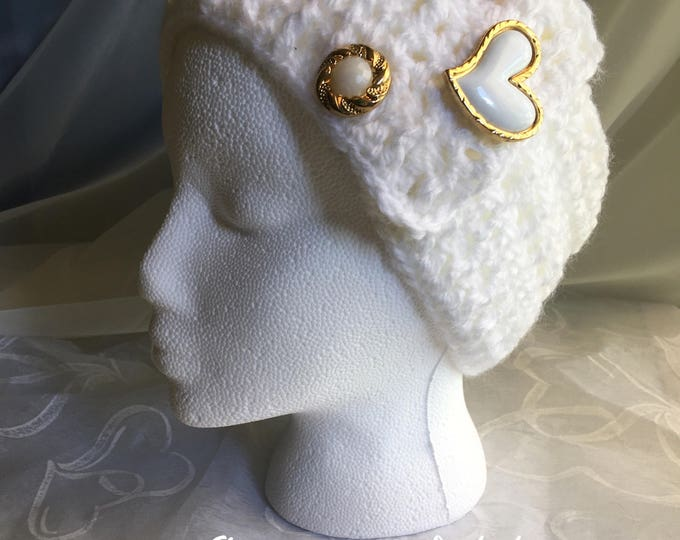 White Crocheted Headband-Womens Earwarmers -Valentines - READY TO SHIP-Heart accessories -Christmas  gift ideas-Fall Hairband-Gold jewelry