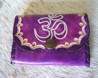 Leather wallet purple, mystical, with card holder, very convenient for women