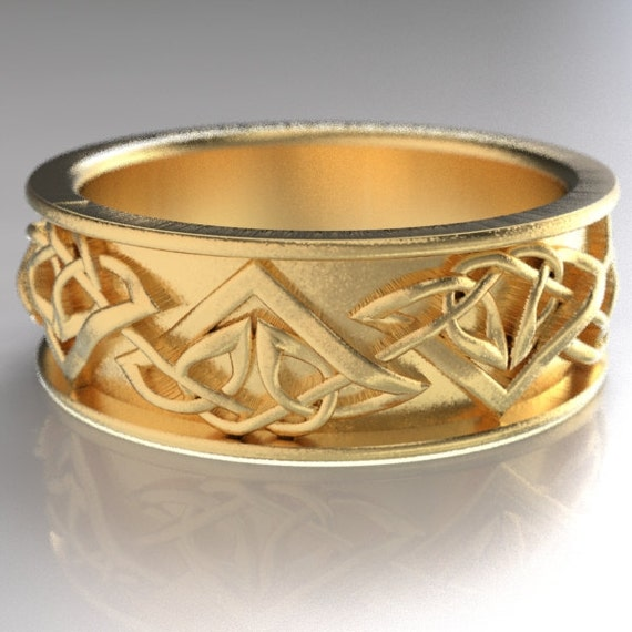 Celtic Wedding Ring With Tribal Triangle Knot Design in 10K 14K 18K Gold, Palladium, Platinum, Made in Your Size CR-1122