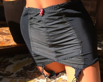 Berlei black roll on girdle so lo garter grips vintage 60's burlesque