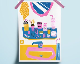 Download decor home art Wash art wall Download decor bathroom art Print art pink blue yellow Collectibles laundry art Digital wash print