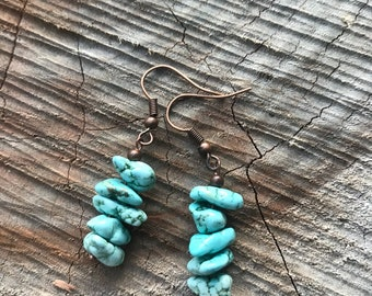 TURQUOISE Stacked stone earrings