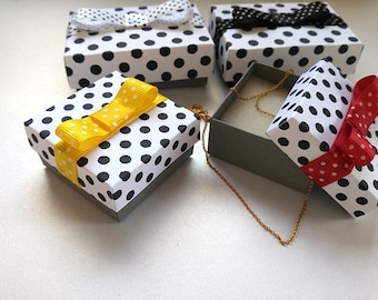 Gift boxes, wedding favor box,  Packaging box, Gift box - 10 assorted print dots, Jewelry Packaging Boxes,jewelry gift box,  gift packaging