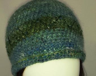 A108 handspun hand-dyed jacob wool beaded beanie hat