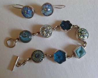 Silver Vintage button bracelet with matching earrings