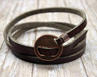Leather Bracelet, Genuine Brown Leather Bracelet, Leather Wristband, Women's Leather Bracelet, Men's Leather Bracelet, Leather Cuff Bracelet