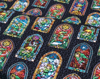 1/2 Yard Nintendo Cotton Fabric The Legend of Zelda Stained Glass NEW