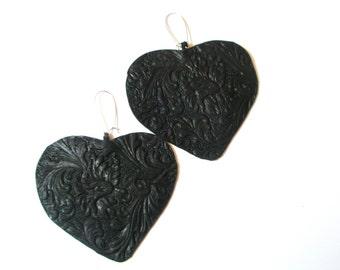 Valentine's day red heart earrings-Leather Heart Earrings, Brown Leather earrings,birthday gift,dangle earrings