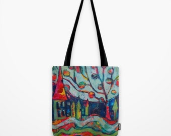 Shopping Bag, Easter Tote With Whimsical Houses Trees River Bunny, Book Bag, Market Shopping Bag, Blue Pink Aqua Tote, Original Mixed Media