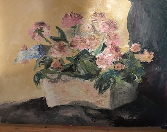 Textured floral oil painting