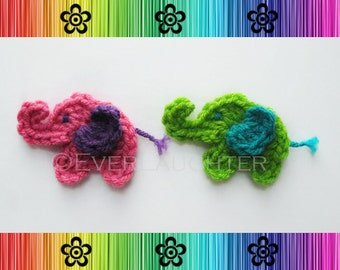 Elephant Applique - 2 Styles - CROCHET PATTERN