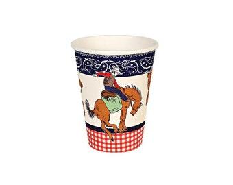 Howdy Cowboy Paper Cups, Western, Paisley, Red Bandanna, Tableware, Party Supplies, Meri Meri