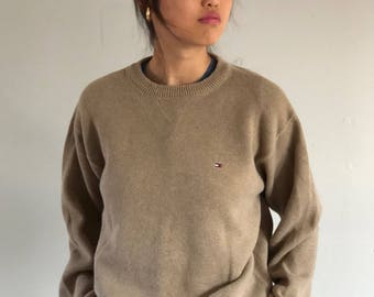 90s Tommy Hilfiger oversized sweater / cotton sweater / camel sweater / slouchy sweater | xl