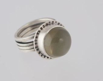 Large Gray Moonstone Sterling Silver Wrap Ring, high quality moonstone, OOAK Ready to ship size 8.5