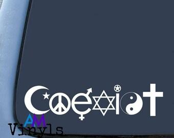 Coexist car vinyl decal, Sticker Car Window Sticker religion