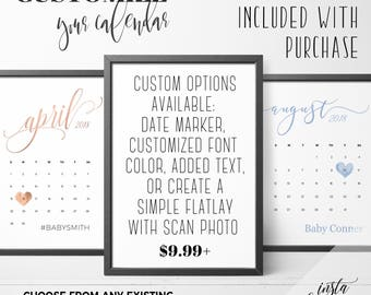 Calendar with custom options! Custom options includes: calendar of your choice. due date marker, font color, or custom text