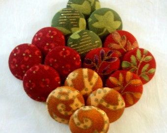 FOUR Fall Harvest Buttons - You Choose the Pattern, You Choose the Size - Autumn Fabric Covered Buttons - Red, Gold, Green, Purple, Tan