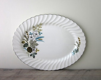 White China Oval Ironstone Platter with Mid Century Leaf Design Snowhite Regency Johnson Bros
