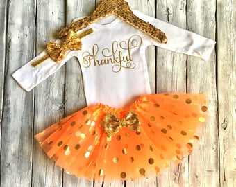 Baby girls Thanksgiving outfit, 1st thanksgiving outfit girls, thankful bodysuit, first thanksgiving, orange and gold, newborn Thanksgiving