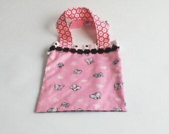 Childrens bag Pink butterflies Black Diamond