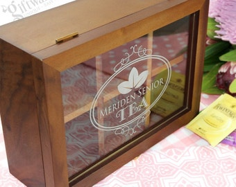 Personalised Engraved Christmas Wooden Tea Box with Acrylic Window , Tin, Caddy Present