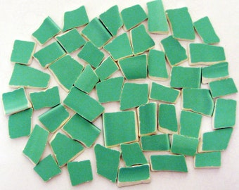 Mosaic Tiles Spring Green Tumbled China Hand Cut Solid Colored Tiles