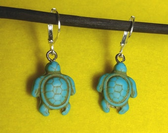 Handmade beautiful earrings with turtle pendant, sterling silver unique perfect gift for her