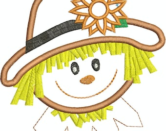 Fall Scarecrow Machine Embroidery Applique