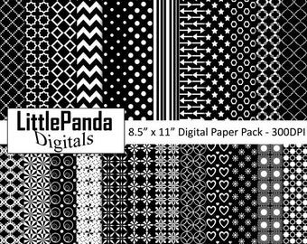 """70% OFF SALE Black and White Digital Paper, Background, Scrapbook Papers, Commercial Use, 24 jpg files 8.5"""" x 11"""" - Instant Download - D430"""