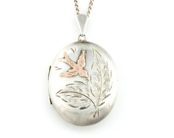 Vintage Silver and Rose Gold Birdie Locket with Chain