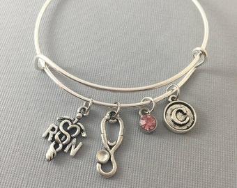 RN - RN Gifts - RN Graduation Gift - rn bracelet - Rn Jewelry - Registered Nurse - Registered Nurse Gifts - Personalized Bracelet